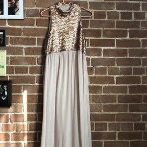 Rose gold sequin top prom dress